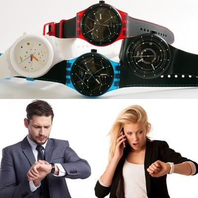 Часы Swatch с урбанистическим и эстетическим дизайном.